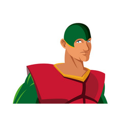 Muscular man superhero in mask suit boots gloves vector
