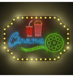 Neon Colorful Cinema Retro Billboard vector image
