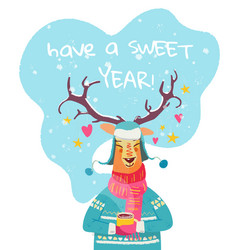 new year greeting card with cheerful reindeer vector image