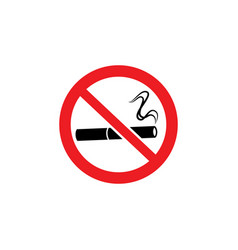 No smoking sign - lit cigarette drawing inside red vector