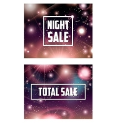 Offer banner on cosmic galaxy background set vector