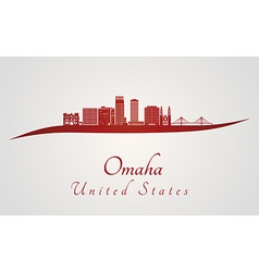 Omaha V2 skyline in red vector image