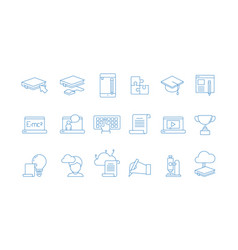online education icons training study courses vector image