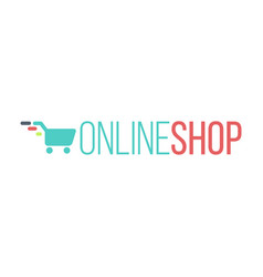 online shop logo for internet store shopping cart vector image