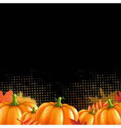 Orange Autumn Leafs And Pumpkins Frame vector image