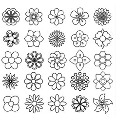 outline flower icon set draw vector image