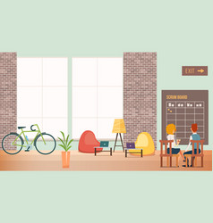 People work at creative office modern open space vector