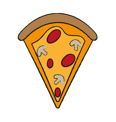 Pizza slice with toppings fast food icon image vector