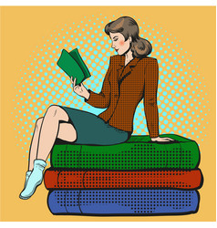 Pop art of young woman reading vector