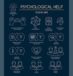 Psychological help set of white linear icons vector