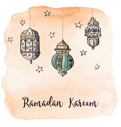 Ramadan arabic lanterns with orange watercolor vector