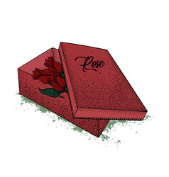 red gift box in the middle of which there are vector image