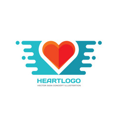 red heart - logo in flat style valentines vector image
