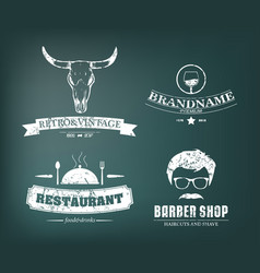 Retro vintage insignias or logotypes set design vector