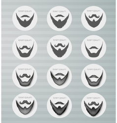round icons beard with mustache vector image