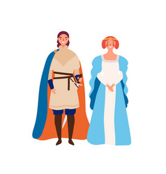 royal couple flat medieval vector image
