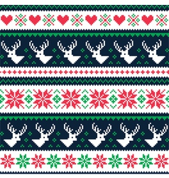 Scandynavian winter seamless pattern with deer vector image