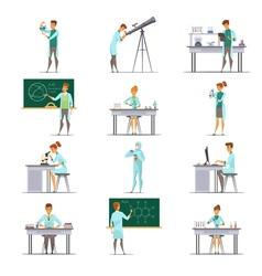 Scientific Research Retro Cartoon Icons Collection vector