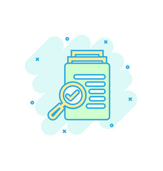 Scrutiny document plan icon in comic style review vector