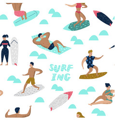 Seamless pattern with characters people surfing vector