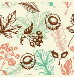 seamless pattern with chestnut and falling leaves vector image