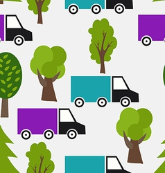 Seamless Pattern with Truck and Tree Background in vector image