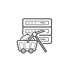 Server and pickaxe hand drawn outline doodle icon vector