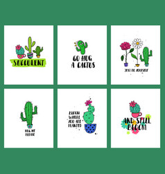 set funny cacti cards and lettering vector image