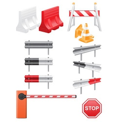 Set icons road barrier vector