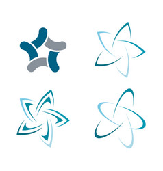 set of abstract star color icon vector image