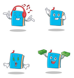 set of blue book character with listening music vector image