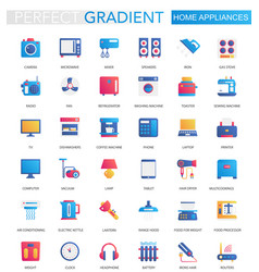 set trendy flat gradient home appliances vector image