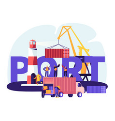 shipping port concept harbor crane loading vector image
