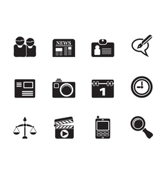 Silhouette computer and business icons vector