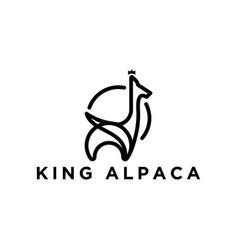 Simple outline alpaca logo design vector