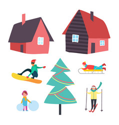 skiing and winter seasonal hobbies set vector image