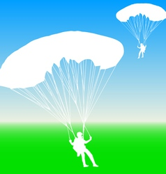 Skydiver silhouettes parachuting vector image