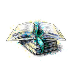 stack multi colored books and open book from a vector image
