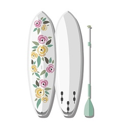 Stand up paddle board and paddle with col vector