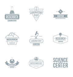 Study of the sciences logo set simple style vector