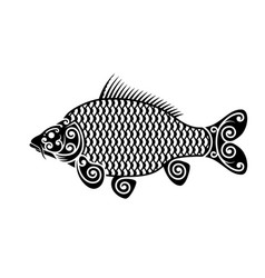stylized carp image maori ornament decorative vector image