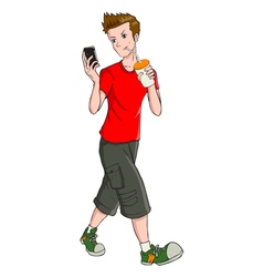Teen And Gadget vector image