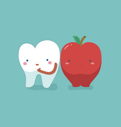 Tooth healthy and fresh apple teeth and tooth con vector