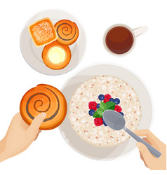 top view of breakfast table isolated vector image