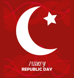 Turkey republic day red background moon and star vector