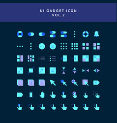 ui gadget icon set flat style design vol 2 vector image
