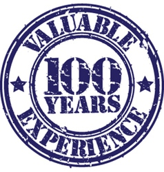 Valuable 100 years of experience rubber stamp vector