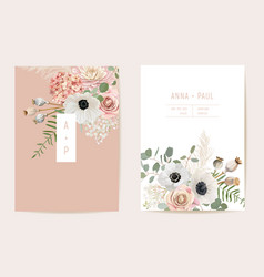 watercolor anemone pampas grass rose floral vector image