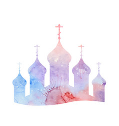 With a silhouette of the orthodox church wit vector