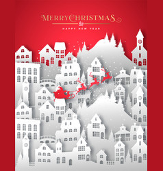year paper cut winter snow city vector image